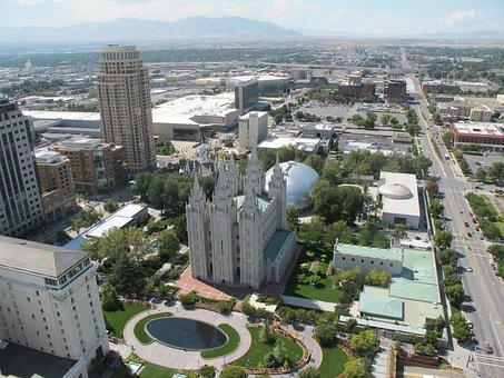 Salt Lake City, Utah, Usa, Temple, Tabernacle, Mormon