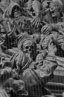 Church, Bronze, Death, Skull, Mourning, Sculpture