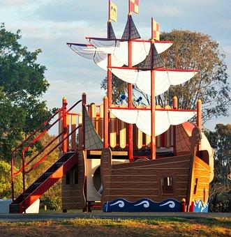 Pirate Ship, Park, Blue Sky, Yellow, White Sails