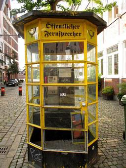 Phone Booth, Historically, Payphone, Bremen, Antiquated
