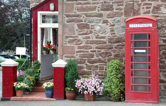 Phone Booth, Old, House, Red, England, Scotland