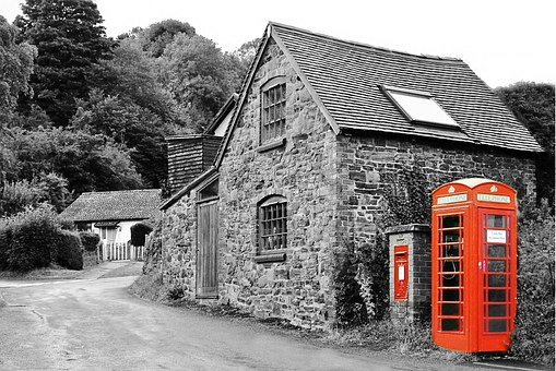 Village, Phonebox, Phone, British, Telephone, Box, Red