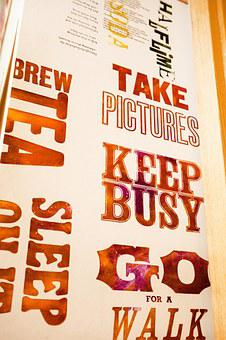 Slogan, Book Printing, Color, Rows, Printed, Letters