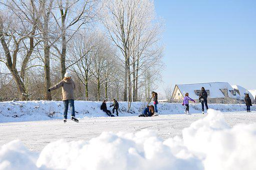 Snow, Ice Skating, Ice, Winter, Netherlands, Fun, White