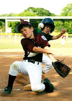 Baseball, Little League, Sliding, Sport, Collision