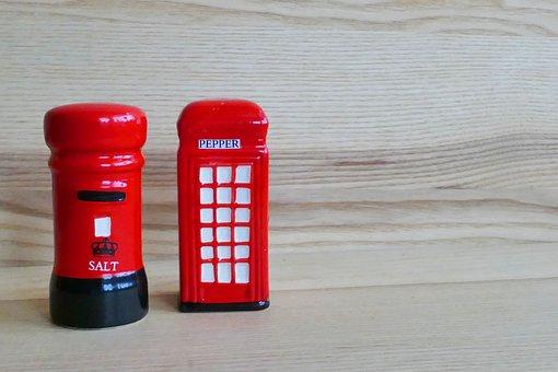 Salt And Pepper, Post Box, Telephone Box, Red