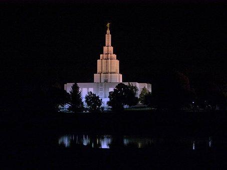 Mormon, Temple, Building, Night, Idaho Falls, City