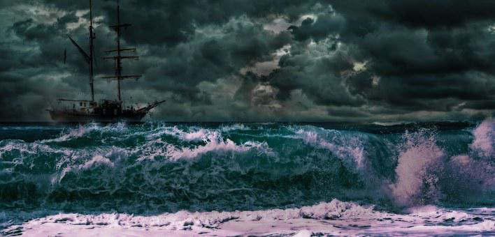 Churning, Troubled, Water, Ocean, Critical, Situation