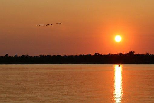 Sunset, Zambia, Zambezi, Water, Landscape, Dusk, Wild