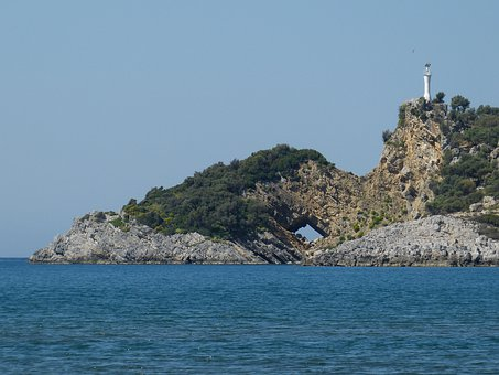 Turkey, Water, Landscape, Rock Formations, Island