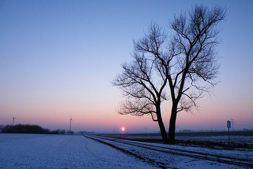 Sunrise, Winter Impressions, Wintry, Snow, Cold, Winter