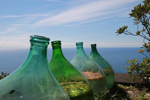 Waters, Sea, Bottle, Glass, Sky, Green Blue, Ocean