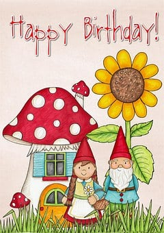Happy, Birthday, Card, Greeting, Mushroom, House