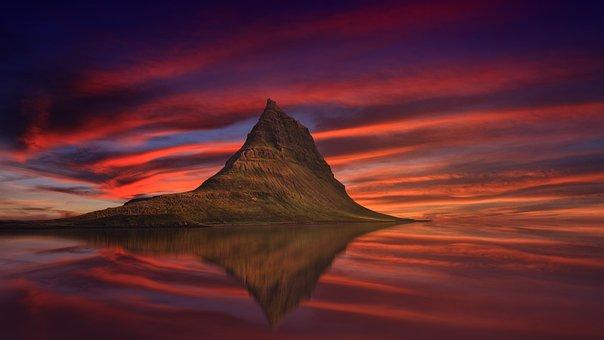 Kirkjufell, Iceland, Mountain, Abenrot, Sunset, Dusk
