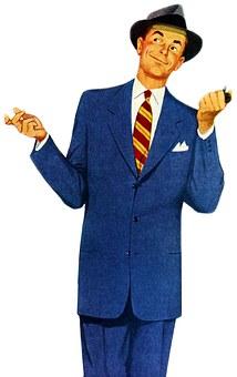 Vintage, Retro, Man, Suit, Attire, Hat, Businessman