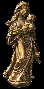 Figure, Statue, Madonna, Golden, Female, Maria