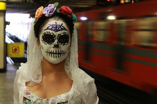 Portrait, Metro, Mexico City, Day Of The Dead