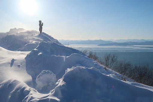 Avacha Bay, Sea, Sky, Winter, Snow, Snowdrifts