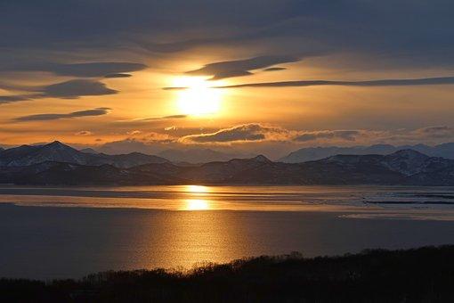 Avacha Bay, Sea, Sunset, Sky, Clouds, Nature, Coast
