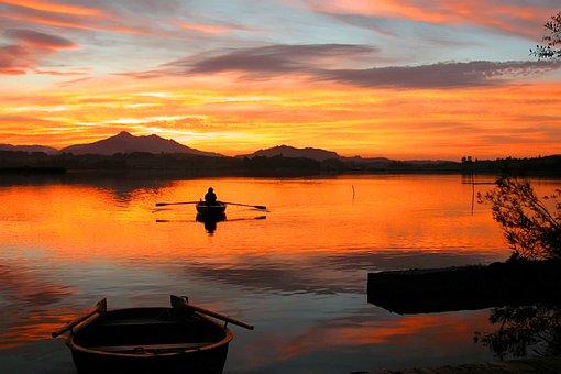 Sunset, Waters, Lake, Allgäu
