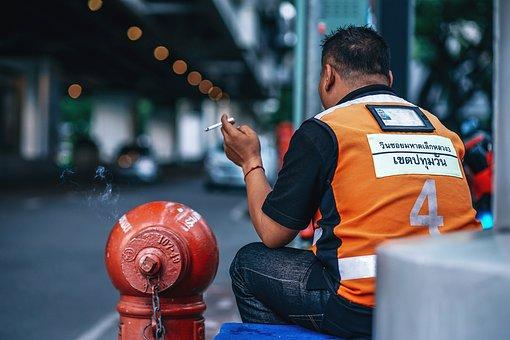 Man, Taxi, Driver, Bangkok, Thailand, Stop, Waiting