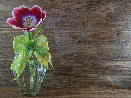 Tulip, Vase, Woods, Wood, Table, Flower, Rustic