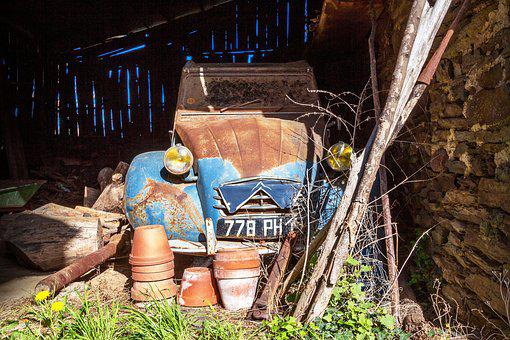 Wood, Old, Leave, Barn, Car, Expired, Transport