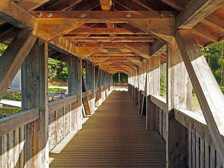 Pedestrian Bridge, Covered, Truss, Wooden Construction