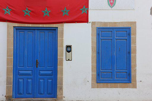 Morocco, Essaouira, Door, Window, Blue, Doorway