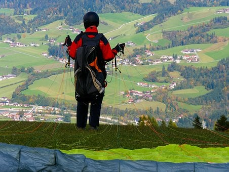 Nature, Mountain, Landscape, Fly, Paragliding, Jump