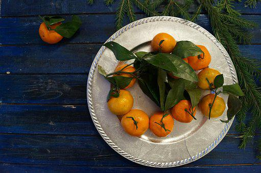 Food, Fruit, Grow, Table, Plate, Mandarin, Silver Tray