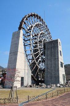 Building, Outdoors, Waterwheel, Japan, Gifu 恵那市