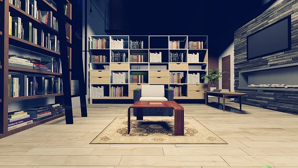 Shelf, Bookcase, Apartment, House, Contemporary