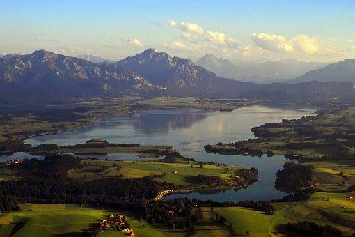 Lake Forggensee, Aerial View, Summer, Lake, King Angle