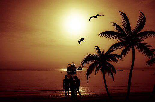 Family, Beach, People, Ship, Silhouette, Sunset, Travel