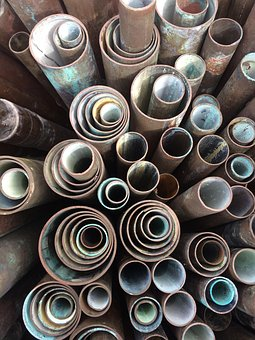 Copper Pipes, Pipe Ends, Concentric Circles