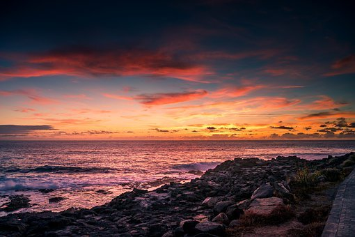 Sunset, Sea, Ocean, Travel, Rocks, Waves, Clouds, Sky