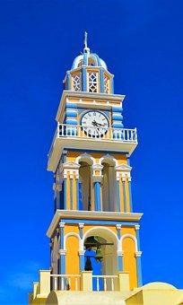 Church, Santorini, Clock, Architecture, Tower, Sky