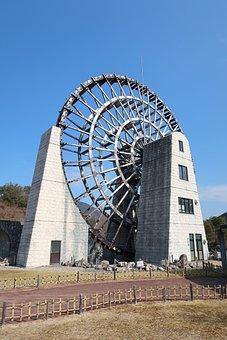 Sky, Building, Waterwheel, Grandma City Yamaoka