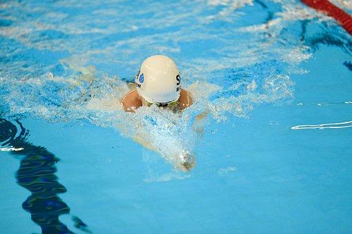 Free Time, Splash, Safety Glasses, Swimmer, Pool, Crawl