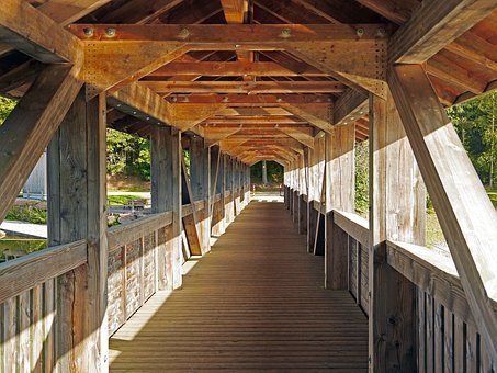 Pedestrian Bridge, Covered, Truss, Wooden Construction