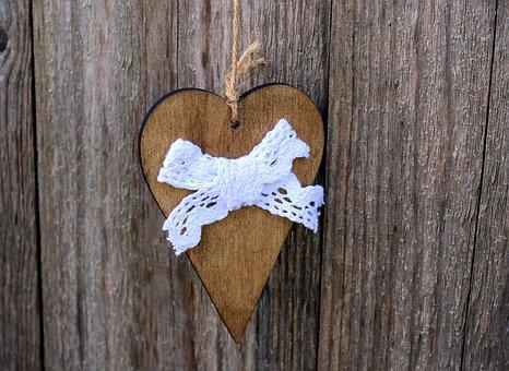 Heart, Bow, Pendant, Decoration, Wood, Wooden, Rustic