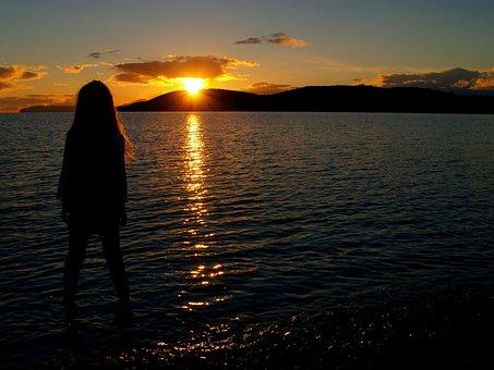 Sunset, Dawn, Water, Dusk, Sun, Silhouetted, Girl