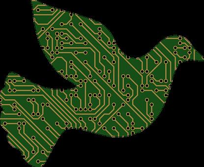 Dove, Animal, Bird, Flying, Wings, Cyber, Circuitry