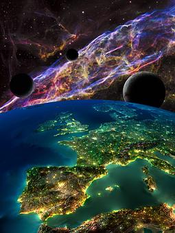Space, Nebula, Stars, Planet, Earth, Moon, Galaxy