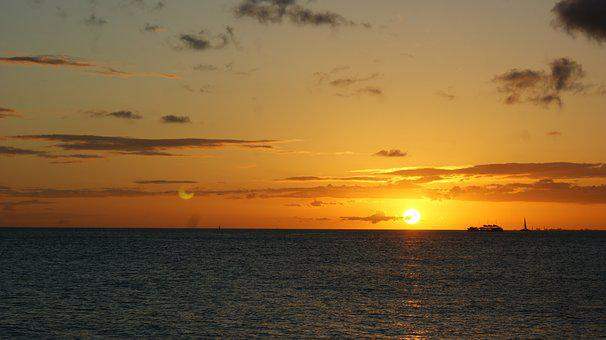 Sunset, Dawn, Sun, Water, Sea, Hawaii, Oahu, Honolulu