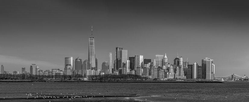 Panoramic, Tower, Skyline, Monochrome, Industry