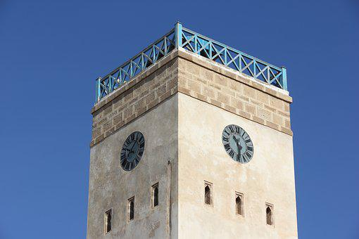 Morocco, Essaouira, Clock, Tower, Clock Tower, Outdoor