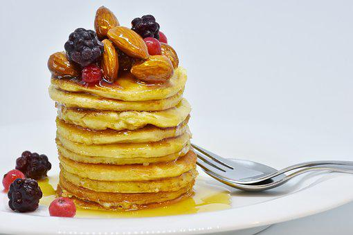 Pancake, Honey, Nuts, Fruits, Blackberries, Breakfast