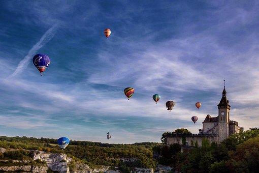 Hot Air Balloon, Panoramic, Church Building, Landscape